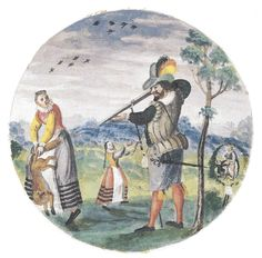 painted design (with 2 liftable flaps [one lost]) for the shooting target of the Herzog Johann Ernst (no less!) dated 1610 from the Coburg Scheibenbuch. Man shoots fox which is held by the tail by a young woman. Between them a girl, her hands next to the extant fold-up flap which conceal's the shooter's ejaculating penis. Scene on far right has lost its covering flap -- SEE DETAIL adjacent. For the erotic connotations of the fox's tail, see both here, and my ALBUM AMICORUM BOARD