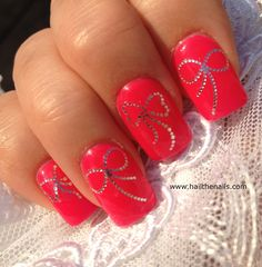 Silver Bows Nail Art Water Transfer Decal