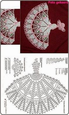 Crochet Crinoline Lady Doily with an umbrella lace Applique girl Home decoration Mother day gift Crochet Doily Patterns, Crochet Diagram, Crochet Chart, Thread Crochet, Filet Crochet, Crochet Motif, Mode Crochet, Crochet Home, Crochet Butterfly