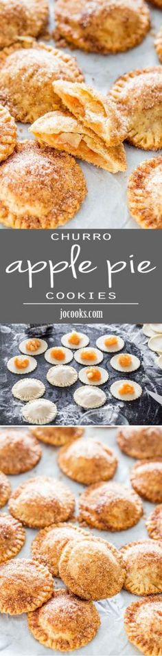 Churro Apple Pie Cookies - Adorable little apple pies, churro style! They& crispy, crunchy and a lot of sugary goodness! Apple Desserts, Mini Desserts, Apple Recipes, Just Desserts, Sweet Recipes, Baking Recipes, Cookie Recipes, Delicious Desserts, Dessert Recipes