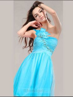 Attractive A-line One Shoulder Knee-length Organza Beading Blue Homecoming Dresses