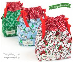 ScrapBusters: Mini Drawstring Gift Bags   Sew4Home