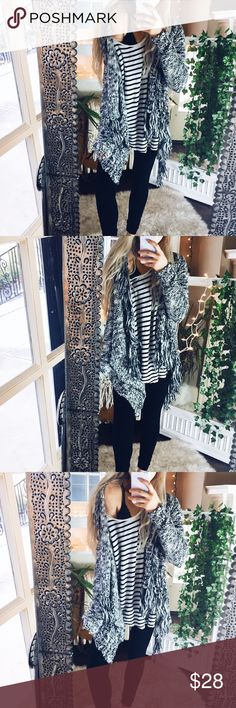Bohemian Marled + Fringe Cardigan A99 Cozy and incredibly soft! Sweaters Cardigans