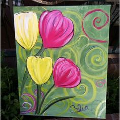 Acrylic Painting For Beginners, Easy Canvas Painting, Simple Acrylic Paintings, Spring Painting, Beginner Painting, Easy Paintings, Diy Painting, Painting & Drawing, Canvas Art