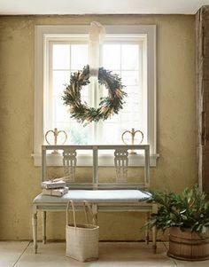 Wreath in Window. Boxwood & Wheat