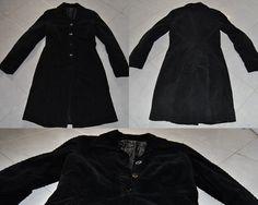 Cappotto nero lungo a costine di velluto  tg M  buone condizioni  €25