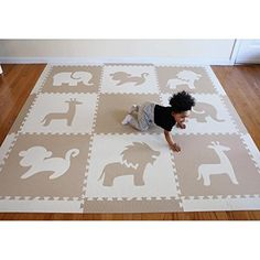 "SoftTiles Safari Animals Kids Foam Playmats w/Sloped Edges Large Foam Mats- 2' Floor Tiles 78"" x 78"" (6.5' x 6.5') (Black, Gray, White)"