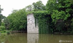 Part of the old city wall with ivy in Maastricht.