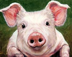 Sweet Little Piglet On Green Painting by Dottie Dracos