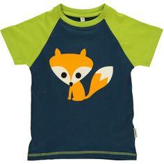 T-shirt, raglan, dark blue with fox, Maxomorra