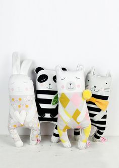 handmade soft toy dolls bunny, panda, polar bear and kitten - by PinkNounou Handmade Stuffed Animals, Sewing Stuffed Animals, Tilda Toy, Bear Toy, Polar Bear, Handmade Soft Toys, Fabric Toys, Sewing Projects For Kids, Toy Craft