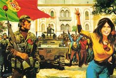 """Illustration commemorating the 1974 Portuguese Carnation Revolution in the magazine """"Gaiola Aberta"""". Portugal, Human Rights Organisations, Pays Francophone, Best Workplace, Rock Lee, Carnations, Western Australia, Portuguese, Affair"""