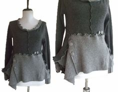 Asymmetric Floral Ruffled Sweater Small S by RebeccasArtCloset