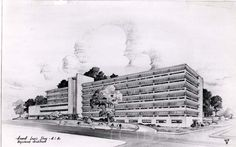 Sketch of the new Mercy-Douglass Hospital by architect Howell Lewis Shay, ca 1958. Image courtesy of the Barbara Bates Center for the Study of the History of Nursing.