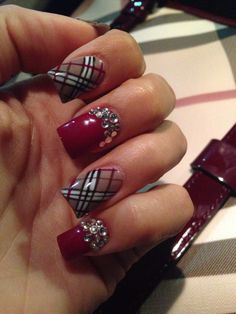 Choose from an Amazing Array of Nail Art Design Holiday Nail Designs, Nail Polish Designs, Holiday Nails, Christmas Nails, Nail Art Designs, Burberry Nails, Gucci Nails, Plaid Nail Art, Plaid Nails