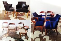 Our client's formerly mis-matching mid-century modern dining chairs! We sanded and refinished the legs on the armchairs and reupholstered the whole set in blue velvet.