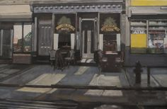 "Richard Lebenson. ""Brooklyn Public Bathed in Light""  Brooklyn Public House in Ft. Greene. The building has changed hands many times over the years, going unused for years after being a bar in the 1960s and 70s.  Size: 16 X 24 inches Materials: Oil on canvas, no frame"