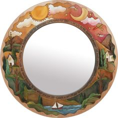 "Large Circle Mirror – ""Live Life to the Fullest"" circle mirror with sunset and moon over the horizon motif Mirror Mosaic, Mosaic Glass, Glass Art, Round Wooden Mirror, Round Mirrors, Large Circle Mirror, Kids Mirrors, Primitive Wood Signs, Mirror Painting"