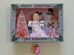 OOAK Vintage Christmas Ornament Shadow Box Pink Bottle Brush Trees Angel | eBay