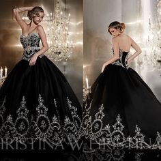 Perfect Embroidery Black Wedding Dress Prom Party Ball Gown Quinceanera Dresses #Handmade #BallGown #Formal