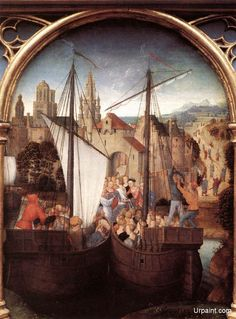 St Ursula Shrine: Arrival in Basel (scene 2) (1489) by Hans Memling (1430-1494) Oil on panel, 35 x 25,3 cm Memlingmuseum, Sint-Janshospitaal, Bruges 2. Arrival in Basel The fleet, represented once again by just two vessels, has put in at Basel. This time Memling includes male pilgrims, in accordance with the vision of the legend experienced by Elizabeth of Schöngau.