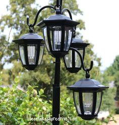 I love the look of lamp posts but have never made one for myself! This Hometalker made one…but she used solar lights!! Find out how she did it!