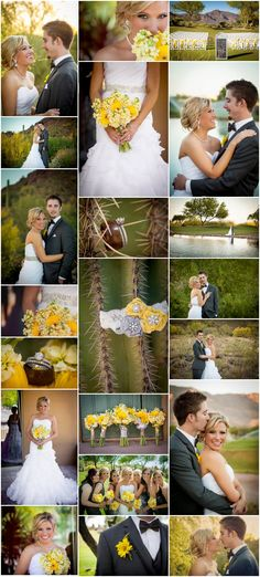 Beautiful Yellow and Grey desert Arizona Wedding. Yellow and Gray Wedding. Bride Up-Do, wedding hair, bridal portraits, Makeup, Yellow Daisies bouquet, unique beautiful couples poses, candid wedding photography