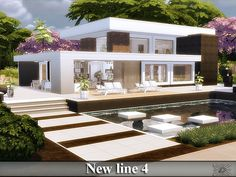 New line 4 house by for The Sims 4 Lotes The Sims 4, Sims New, Sims 4 Houses, Big Houses, Sims 4 Loft, Sims 4 Modern House, Play Sims 4, Luxury Loft, Casas The Sims 4