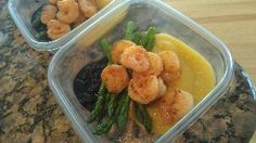 Shrimp and grits pic    Pan seared shrimp with creamy polenta, steamed asparagus and blueberry balsamic demi-glace.     You could be eating healthy with Weekly Meal Prep from www.friendthatcooks.com.
