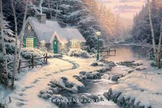 """Thomas Kinkade painted """"Evening Glow"""" with the intent to portray a peaceful and tranquil winter scene, setting it at dusk with warm lights within the cottage. The fence in the painting was inspired by his real-life neighbor's wooden fence, and he included a light post to welcome visitors to the home. It was the 10th and final piece in its collection, and Thom included 10 N's in the image for his wife, Nanette. #thomaskinkade #winter #snow #art"""
