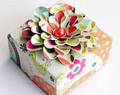 ORIGAMI Gift BOX Decorated with Handcrafted Layered FLOWER  This is SO pretty, I would not be able to rip it open!!!