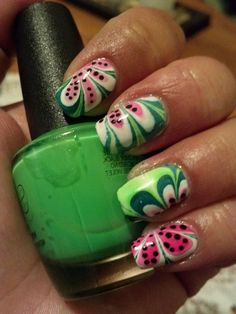 Watermelon Water Marble Nails