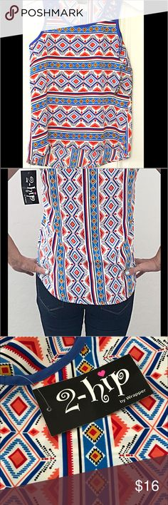 "Cute NWT 2-hip Cheerful Sleeveless Top 🔹 NWT 2-hip Sleeveless Girl's Top 🔹  • Brand New, Never Worn, Perfect Condition •Lightweight / Perfect For Summer    • Super Cute Pattern & Neck / Shoulder Line •  Hi- Low Style   • Has A Little Silk Feel To It  • Approx:  24.5"" L ( Top of shoulder to very bottom), 22""(Top of shoulder to Hi), 8"" Arm Opening, 16.5"" W    Thank You For Visiting ! ❤️💙💛 2-hip Shirts & Tops Tank Tops"