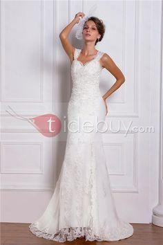 トランペット/マーメイドスイートハートネック袖なしチャペルトレインウェディングドレス