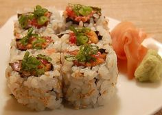 """Beyond Salmon: Spicy Tuna Maki--Like the """"crunchies"""" idea! I need to spruce up my sushi. This uses raw tuna. A big leap for me! :)"""