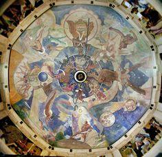"The Ballin Ceiling Mural | © Anthony Cook, Griffith Observatory | The Ballin ceiling mural celebrates classical celestial mythology, with images of Atlas, the four winds, the planets as gods, and the twelve constellations of the zodiac. The eight rectangular Ballin wall murals depict the ""Advancement of Science"" with panels on astronomy, aeronautics, navigation, civil engineering, metallurgy and electricity, time, geology and biology, and mathematics and physics."
