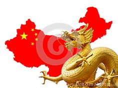 Chinese golden dragon and China map