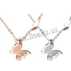 plata de ley 925 collar, con 1Inch extender cadena, Mariposa, chapado, cadena oval & pliegue, más colores para la opción, 15x15mm, longitud:aproximado 16.5 Inch, 2Strandsfilamento/Grupo, Vendido por Grupo,Abalorios de joyería por mayor de China