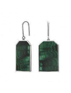 Серьги с подвижным элементом со вставкой из натурального камня (усеченный октагон) | Серьги | Каталог | Davidian Design