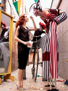 Karen Elson by Steven Meisel for Vogue Italy 2007, circus style cover