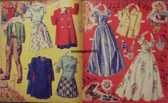 SLUMBER PARTY Paper Dolls: Nancy, Betsy, Carol, Jeanie, Patty  #4854 Merrill 1943 <> 4 0f 7