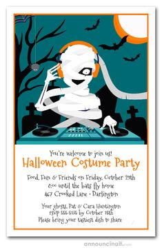 A mummy plays DJ under a full moon, perfect design for Halloween party invitations or Halloween birthday invitations for creatures and witches of all ages. Movie Party Invitations, Halloween Costume Party Invitations, Halloween Costumes, Halloween Ideas, Backyard Movie Party, Halloween Celebration, Tea Party Birthday, Full Moon, Dj