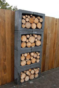U-elementen gebruiken om stijlvol hout op te slaan