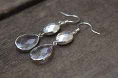 Silver faceted and crystal teardrop dangle earrings by SCBeads