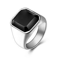Stainless Steel Ring Black Stone #rings