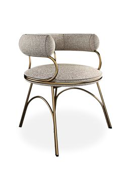 Presenting itself as a must-have piece in any dining space, Austin dining chair is upholstered in dobby textile featuring a minimalist polished brass structure. Its arch legs details provide a distinctive dining chair design. Condo Furniture, Table Furniture, Furniture Design, Metal Dining Chairs, Dining Chair Set, Dining Room, Luxury Chairs, Upholstered Chairs, Contemporary Furniture