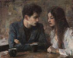 Cafe Couple, oil on canvas by Ron Hicks Couple Painting, Couple Art, Romantic Paintings, Beautiful Paintings, Jm Barrie, Classical Art, Renaissance Art, Aesthetic Art, Figurative Art