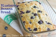 BLUEBERRY BANANA BREAD - This is pretty much a classic banana bread, but with tons of blueberries mixed in.  The blueberries and banana go surprisingly well together, and make for a very moist and flavorful bread.  This recipe should make 4 mini loaves, that you could wrap in foil and freeze for later.  Or give as gifts, if you are feeling really generous.