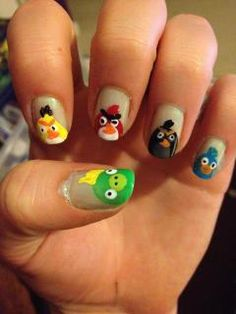 My Angry Bird nail design.