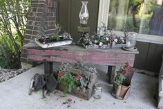 Patio flowers on bench